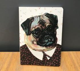 A6 Retro Pug Notebook