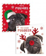 Ten Pack Pug Fawn & Black Christmas Card