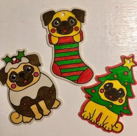 Fawn Pug Handmade Christmas Decorations Set Of 3