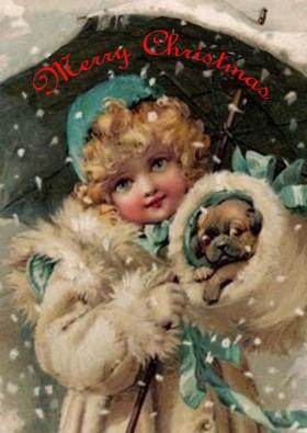 Unique Vintage Pug Christmas Cad