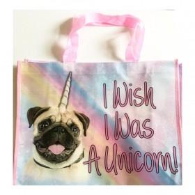 Large Pug Unicorn Tote Bag
