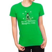 Cute Pug  Christmas Ladies T Shirt