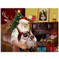 Festive Pug Christmas Postcard