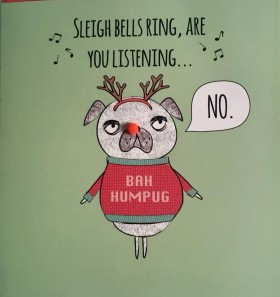 Funny Pug Christmas Card