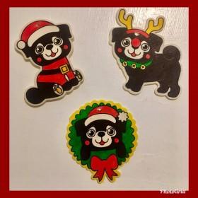 Black  Pug Handmade Christmas Decorations Set Of 3