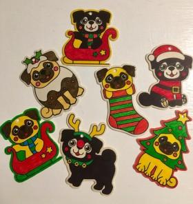 Pug Handmade Christmas Decorations Set Of 7 Variety