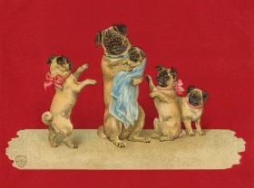 Stunning Vintage Pug Mum & Pups Blank Card
