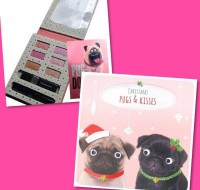 Girls Pug Christmas Makeup Set & Christmas Card