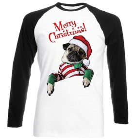 Cute Pug  Christmas Baseball Style T Shirt