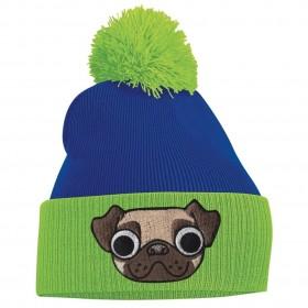 Unisex Pug Green & Blue Beanie