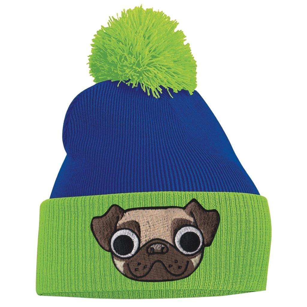 Unisex Pug Green   Blue Beanie  dc6dc2767d