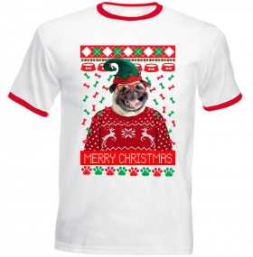 Funny Elf Pug Christmas Unisex T Shirt