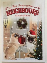 Large Pug Neighbours Christmas Card