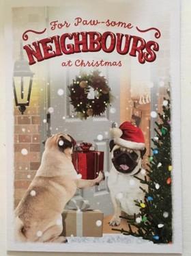 Large Pug Neighbours Christmas Card