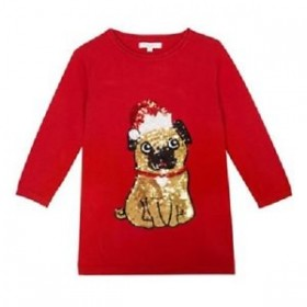 Toddlers Pug Sequinned Christmas Dress