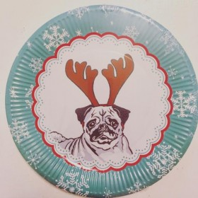 Pug Christmas Paper Plates Pack Of 8