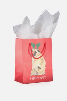 Funny Pug Small Christmas Gift Bag