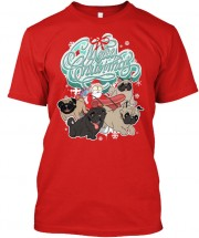 Cute Santa Sleigh Unisex Christmas T Shirt (Available in 3 colours)