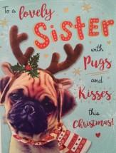 Reindeer Pug Sister Christmas Card