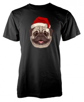 Cute Kids Pug Christmas T Shirt (Available in 11 colours)