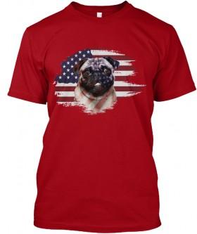 USA Flag Pug Unisex T Shirt