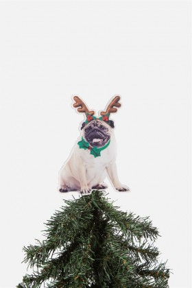 Pug Christmas Tree Topper Decoration