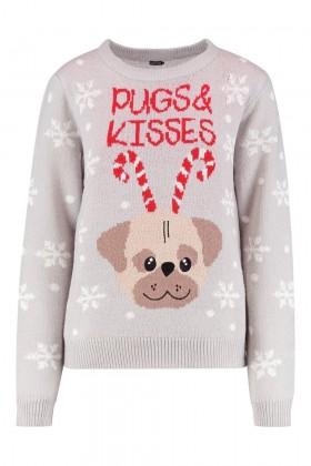 Cute Pug  Christmas Ladies Sweater