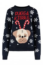 Cute Pug  Christmas Ladies Sweater