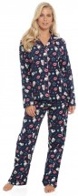 Ladies Cute Flannel Pug Pj Set