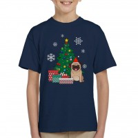 Cute Kids Pug Christmas T Shirt
