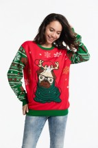 Cute Pug Christmas Reindeer Sweater