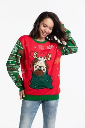 Cute Pug Christmas Reindeer Sweater