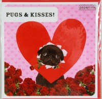 Black Pug Valentines Day Card