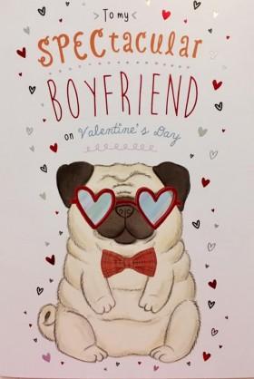 Large Boyfriend Pug Valentines Day Card