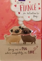 Large Fiance Pug Valentines Day Card