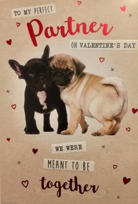Large Pug & Frenchie Partner Valentines Day Card