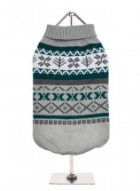 URBAN PUP GREEN & GREY ISLE SWEATER