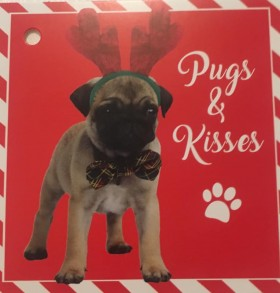 Large Pug Christmas Gift Tag