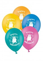 Set Of 5 Pug Happy Birthday Balloons