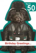 Black Pug Star Wars Age 50 Birthday Card