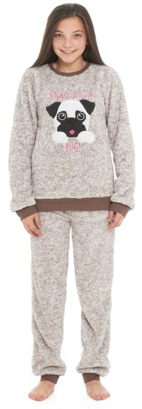Cute Girls Fleece Pug Pj Set