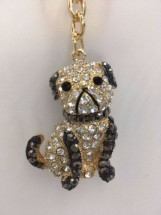 Stunning Pug Diamante Key Ring