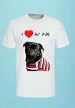 Cool Black Pug Unisex T Shirt