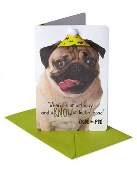 Official Doug The Pug Pop Up Birthday card