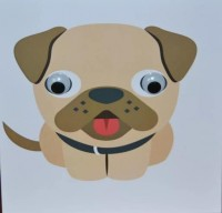 Google Eyes Funny Pug Blank Card