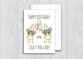 Funny Pug Birthday Card