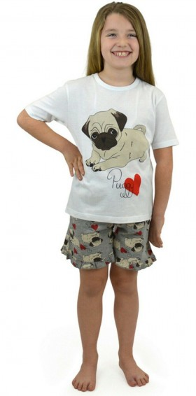 Cute Pug Kids Pj Set