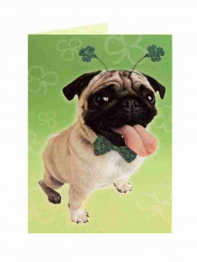 St Patrick's Pug Card