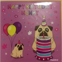Pug Mummy Birthday Card