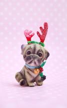 Pug Christmas Glass Decoration